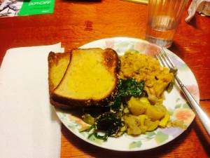 My dinner of rice and veggies, squash, salad and multi-grain garlic toast