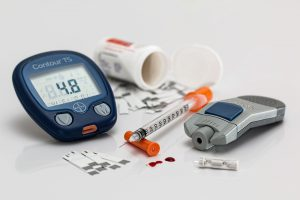 An image of a blood glucose meter showing 48